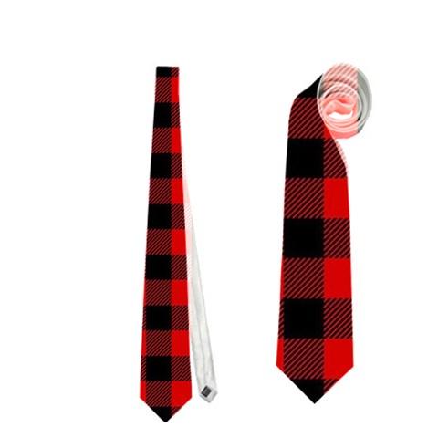 Lumberjack Plaid Fabric Pattern Red Black Neckties (One Side)