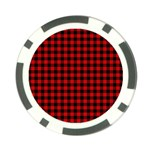 Lumberjack Plaid Fabric Pattern Red Black Poker Chip Card Guards Back