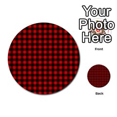 Lumberjack Plaid Fabric Pattern Red Black Multi Purpose Cards (round)