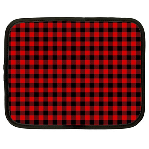 Lumberjack Plaid Fabric Pattern Red Black Netbook Case (Large)