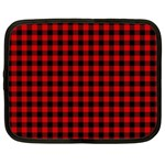 Lumberjack Plaid Fabric Pattern Red Black Netbook Case (Large) Front