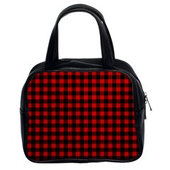 Lumberjack Plaid Fabric Pattern Red Black Classic Handbags (2 Sides)