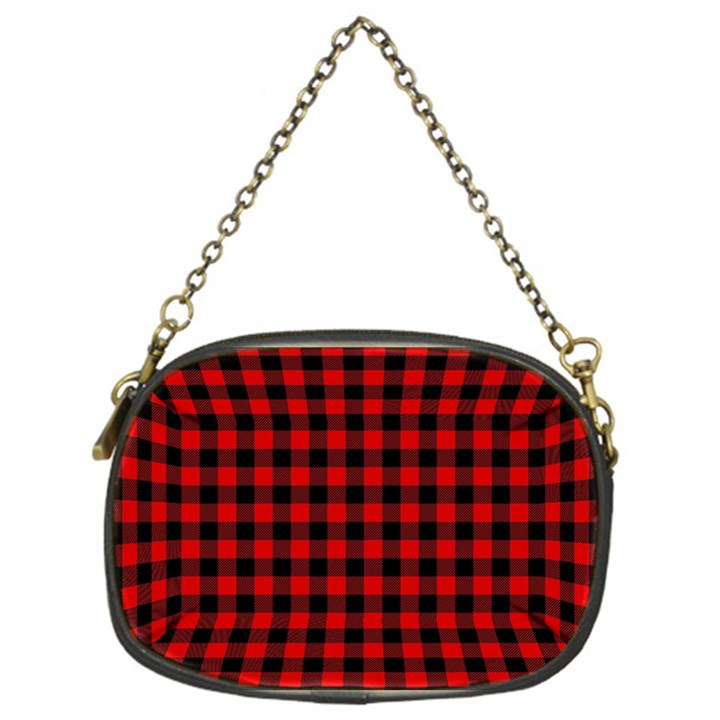 Lumberjack Plaid Fabric Pattern Red Black Chain Purses (One Side)