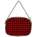 Lumberjack Plaid Fabric Pattern Red Black Chain Purses (Two Sides)  Front