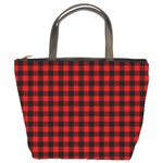 Lumberjack Plaid Fabric Pattern Red Black Bucket Bags Front