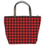 Lumberjack Plaid Fabric Pattern Red Black Bucket Bags Back