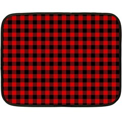 Lumberjack Plaid Fabric Pattern Red Black Fleece Blanket (mini)