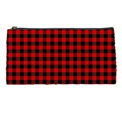 Lumberjack Plaid Fabric Pattern Red Black Pencil Cases