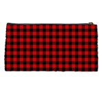 Lumberjack Plaid Fabric Pattern Red Black Pencil Cases Back