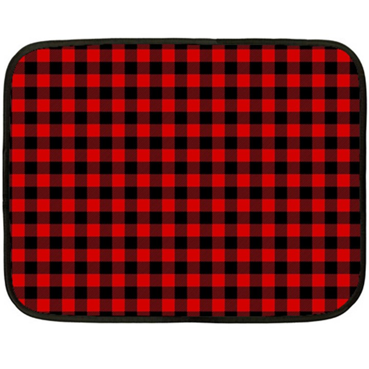 Lumberjack Plaid Fabric Pattern Red Black Double Sided Fleece Blanket (Mini)