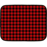 Lumberjack Plaid Fabric Pattern Red Black Double Sided Fleece Blanket (Mini)  35 x27 Blanket Back