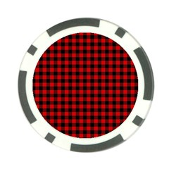 Lumberjack Plaid Fabric Pattern Red Black Poker Chip Card Guards (10 Pack)