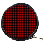 Lumberjack Plaid Fabric Pattern Red Black Mini Makeup Bags Front