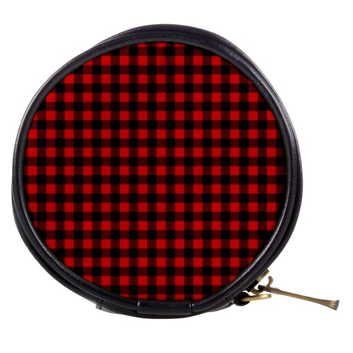 Lumberjack Plaid Fabric Pattern Red Black Mini Makeup Bags