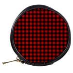 Lumberjack Plaid Fabric Pattern Red Black Mini Makeup Bags Back