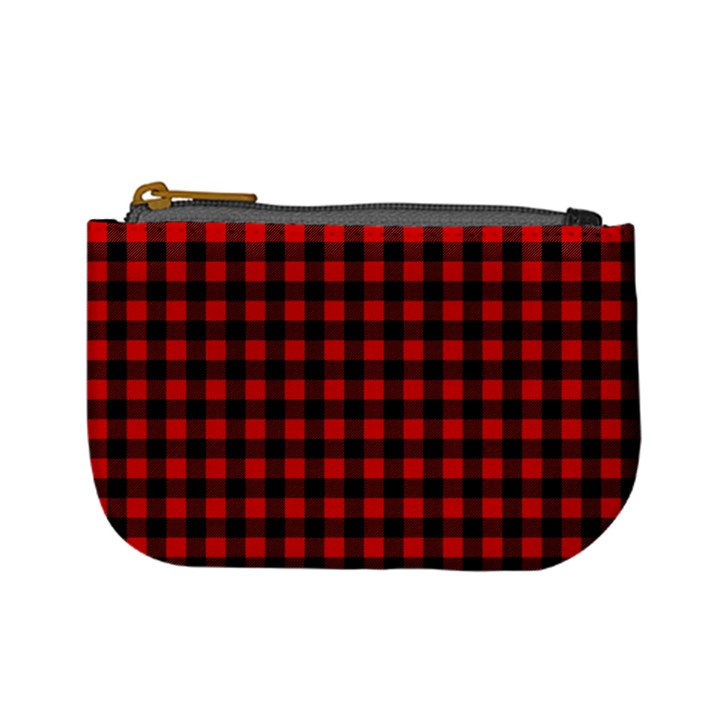 Lumberjack Plaid Fabric Pattern Red Black Mini Coin Purses