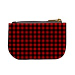 Lumberjack Plaid Fabric Pattern Red Black Mini Coin Purses Back