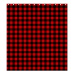 Lumberjack Plaid Fabric Pattern Red Black Shower Curtain 66  x 72  (Large)  58.75 x64.8 Curtain