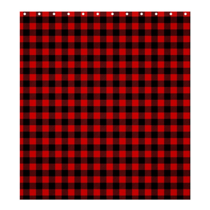Lumberjack Plaid Fabric Pattern Red Black Shower Curtain 66  x 72  (Large)