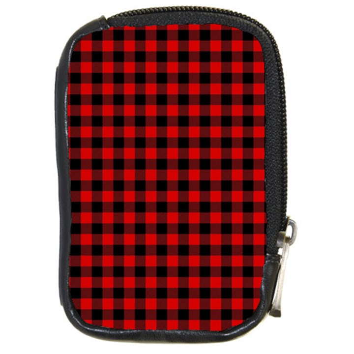 Lumberjack Plaid Fabric Pattern Red Black Compact Camera Cases