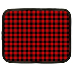 Lumberjack Plaid Fabric Pattern Red Black Netbook Case (xl)