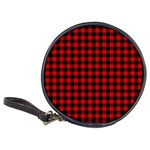 Lumberjack Plaid Fabric Pattern Red Black Classic 20-CD Wallets Front