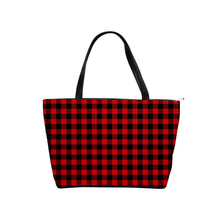 Lumberjack Plaid Fabric Pattern Red Black Shoulder Handbags