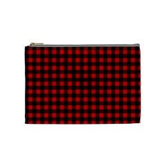 Lumberjack Plaid Fabric Pattern Red Black Cosmetic Bag (medium)