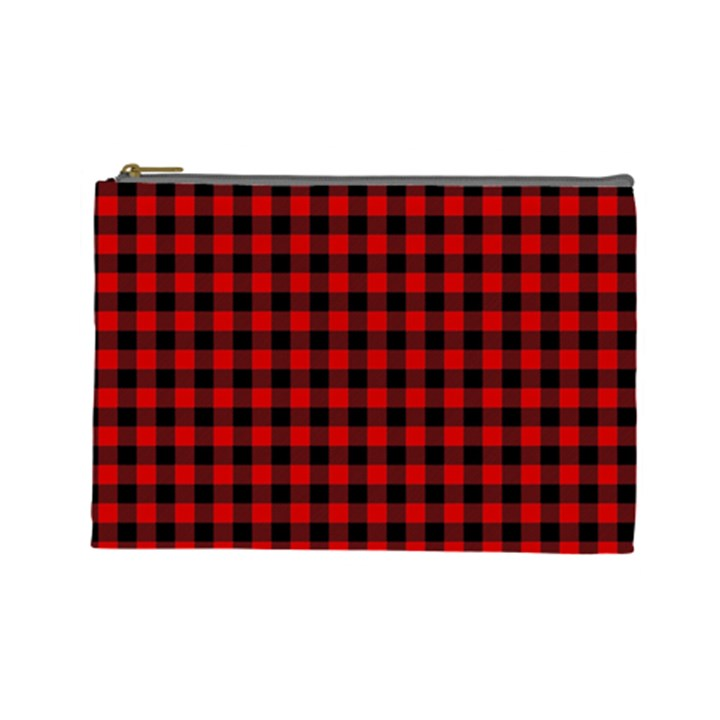 Lumberjack Plaid Fabric Pattern Red Black Cosmetic Bag (Large)