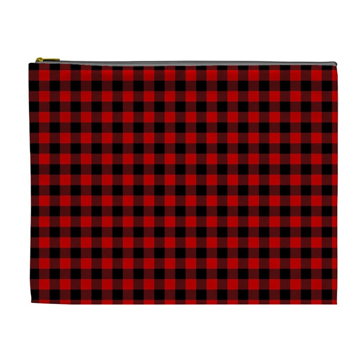 Lumberjack Plaid Fabric Pattern Red Black Cosmetic Bag (XL)