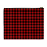 Lumberjack Plaid Fabric Pattern Red Black Cosmetic Bag (XL) Back