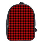 Lumberjack Plaid Fabric Pattern Red Black School Bags(Large)  Front