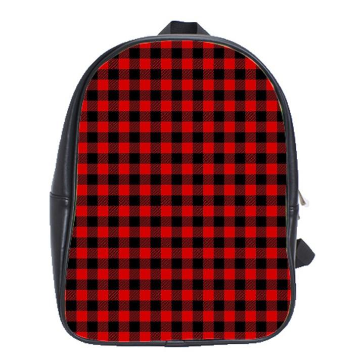 Lumberjack Plaid Fabric Pattern Red Black School Bags(Large)
