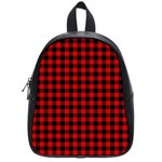 Lumberjack Plaid Fabric Pattern Red Black School Bags (Small)  Front