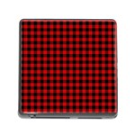Lumberjack Plaid Fabric Pattern Red Black Memory Card Reader (Square) Front