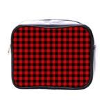 Lumberjack Plaid Fabric Pattern Red Black Mini Toiletries Bags Front