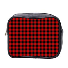 Lumberjack Plaid Fabric Pattern Red Black Mini Toiletries Bag 2-Side