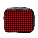 Lumberjack Plaid Fabric Pattern Red Black Mini Toiletries Bag 2-Side Front