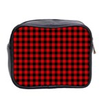 Lumberjack Plaid Fabric Pattern Red Black Mini Toiletries Bag 2-Side Back