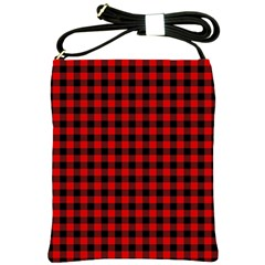 Lumberjack Plaid Fabric Pattern Red Black Shoulder Sling Bags