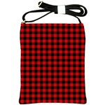 Lumberjack Plaid Fabric Pattern Red Black Shoulder Sling Bags Front