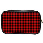 Lumberjack Plaid Fabric Pattern Red Black Toiletries Bags Front
