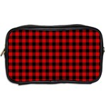 Lumberjack Plaid Fabric Pattern Red Black Toiletries Bags 2-Side Back