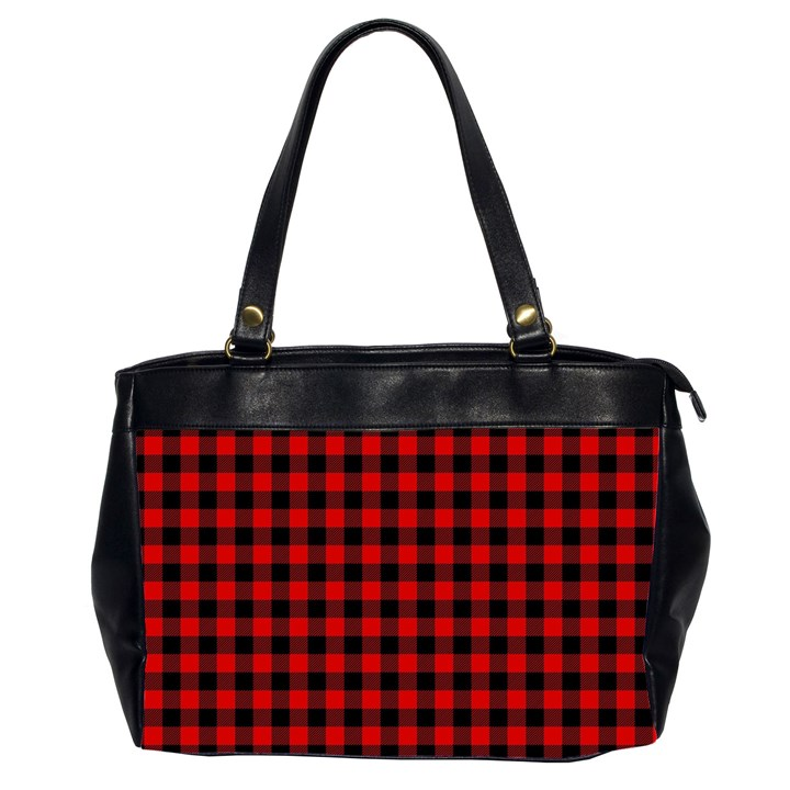 Lumberjack Plaid Fabric Pattern Red Black Office Handbags (2 Sides)