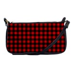 Lumberjack Plaid Fabric Pattern Red Black Shoulder Clutch Bags Front