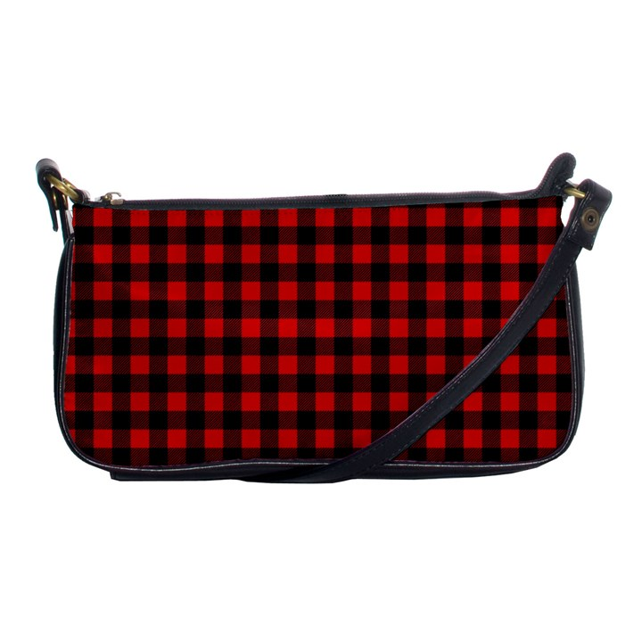 Lumberjack Plaid Fabric Pattern Red Black Shoulder Clutch Bags