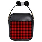 Lumberjack Plaid Fabric Pattern Red Black Girls Sling Bags Front
