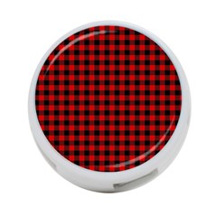 Lumberjack Plaid Fabric Pattern Red Black 4 Port Usb Hub (one Side)