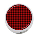 Lumberjack Plaid Fabric Pattern Red Black 4-Port USB Hub (One Side) Front