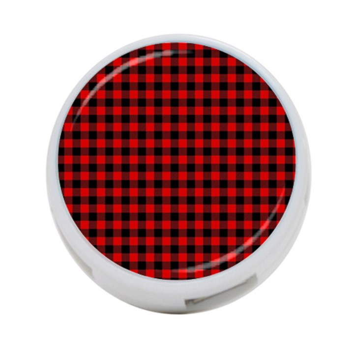 Lumberjack Plaid Fabric Pattern Red Black 4-Port USB Hub (One Side)